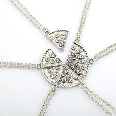 6pcs Pizza Pendant Necklaces Friendship Necklace Best Friends Forever Creative Keepsake Gift For Friend