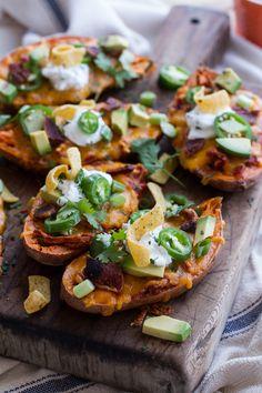 Chicken Chili Con Carne Stuffed Sweet Potato Skins | halfbakedharvest.com @hbharvest