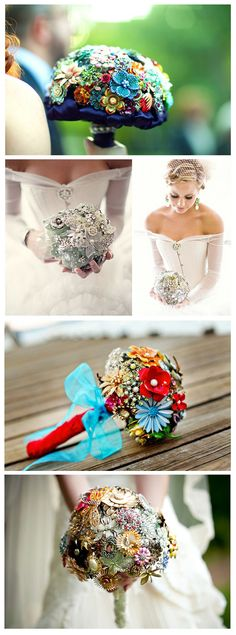 Brooch bouquet......... now seriously how much time and money would it take to make this/collect the brooches???