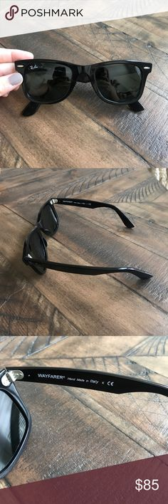Black Ray Ban Wayfarer Great condition! Glasses are designed with a tilt. Ray-Ban Accessories Sunglasses
