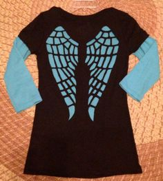 Cut Up Tee, Angel Wings Tshirt, Cut Out Back, Redesigned Shirt  $40