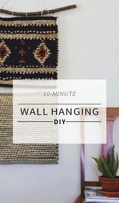 How To Make a Wall Hanging Without A Loom- branch, strong string or wool yarn and nails to hang finished product Weaving Projects, Crafty Projects, Diy Projects To Try, Fun Crafts, Diy And Crafts, Textiles, Woven Wall Hanging, Diy Wall, Wall Art