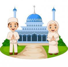 Happy cartoon muslim kids in front mosque Vector Image , Cartoon Monkey, Cartoon Boy, Cartoon Angel Wings, Ramadan Karim, Muslim Greeting, Greeting Card, Mosque Vector, Muslim Pictures, Doodle Background