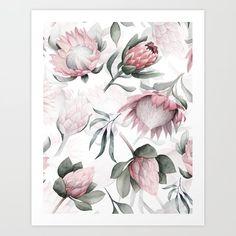 Hand Drawn Protea Flowers Pattern Art Print by UtArt – X-Small - Modern Protea Art, Protea Flower, Watercolor Wallpaper, Watercolor Paintings, Small Flowers, Colorful Flowers, Blue Flower Wallpaper, Small Art, Pattern Art