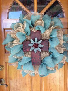 Burlap cross wreath-deco mesh wreath-handmade by DarasDecoDecor Burlap Cross Wreath, Grapevine Wreath, Burlap Wreaths, Deco Mesh Crafts, Deco Mesh Wreaths, Easter Wreaths, Spring Wreaths, Diy Wreath, Wreath Ideas