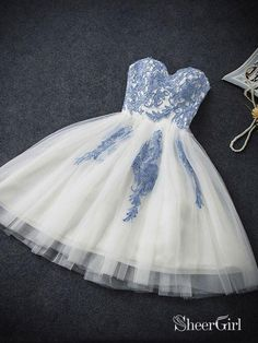 2d2051842f4d4 Sweetheart neck Ivory Tulle with Blue Lace Appliqued Homecoming Dresses