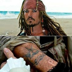 What's a pirate without some ink? Johnny Depp liked Jack Sparrow's tattoo so much that he got the design tattooed on his right arm for Movie Tattoos, Disney Tattoos, Life Tattoos, Tattoos For Guys, Cool Tattoos, Pirate Tattoo Jack Sparrow, Jack Sparrow Tattoos, Swallow Tattoo, I Tattoo