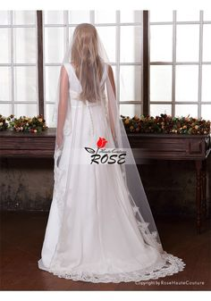 Wedding Veil One Layer Tulle Bridal Veil Applique Veil No Comb Style BV086 - Wedding Veil
