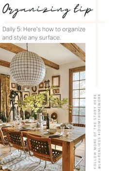 How to Style Any Surface of Your Home - Organize Your Space These . - How To Style Any Surface Of Your Home – Organize Your Space This Week On … – How To Style Any - Diy Interior, Interior Decorating Tips, Interior Design, Dining Room Hutch, Dining Room Design, Console Table, Types Of Furniture, Home Furniture, Home Organization Hacks