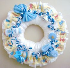 Diaper Wreaths | This adorable Diaper Wreath makes a wonderful Baby Shower Gift ...