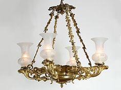 English gilt-bronze Colza chandelier Early Victorian Circa 1840.
