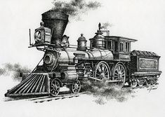 Classic Steam Art Print by James Williamson. All prints are professionally printed, packaged, and shipped within 3 - 4 business days. Choose from multiple sizes and hundreds of frame and mat options. Ink In Water, Water Art, Zug Tattoo, James Williamson, Zug Illustration, Train Tattoo, Train Drawing, Steam Art, Old Steam Train