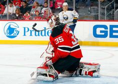NEWARK, NJ - NOVEMBER 12: Cory Schneider #35 of the New Jersey Devils makes a save in the first period against the Buffalo Sabres at the Prudential Center on November 12, 2016 in Newark, New Jersey. (Photo by Jim McIsaac/Getty Images)