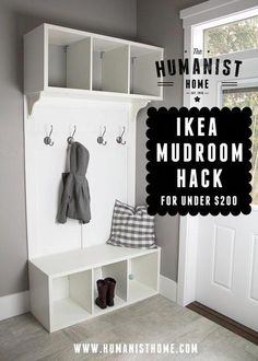 Cheap DIY mudroom bench and storage from IKEA Stolmen units for under 200 Links to tutorial Mudroom Storage Bench, Bench With Storage, Garage Storage, Shoe Storage, Diy Storage, Entryway Storage, Diy Bench, Ikea Hack Bench, Table Storage