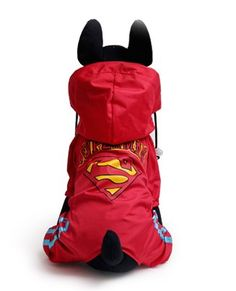 Ollypet Dog Raincoat Large Small Pets with Hood Superman Funny Cool jumpsuit 10 Sizes Red *** Want to know more, visit the site now : Dog coats