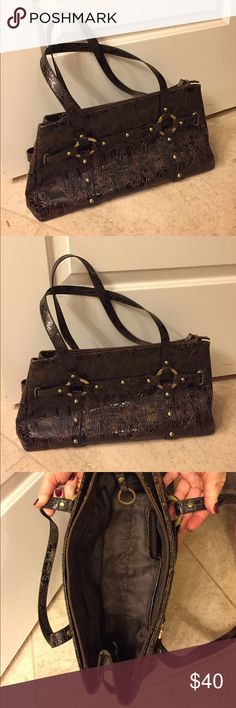 Dark Brown Egyptian Tote One of a kind. Brown Patent with Egyptian figures along the outside.  Zip closure. Inside pocket with zip closure. Brass hardware Bags Totes