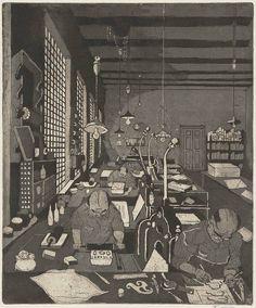 """Hans Körnig: """"in einer Druckerei"""" - und zwar in der Steindruckerei der Kunstakademie Dresden. Radierung, Aquatinta auf Kupfer. 1957. Bildrechte: Museum Körnigreich"""