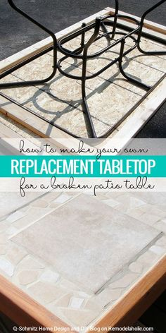 Broken patio table top? No problem! Make your own replacement tabletop with some lumber and tile. Tutorial by Q-Schmitz on Remodelaholic.com.