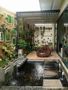 Amazing ideas for small backyard landscaping - Great Affordable Backyard ideas Koi Pond Design, Landscape Design, Garden Design, House Design, Patio Design, Landscape Plans, Backyard Patio, Backyard Landscaping, Backyard Ponds