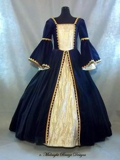 Ladies Tudor Style Renaissance Court or Wedding Gown Details: This gown was made in navy cotton velveteen, but we can use any color available, and can help with your selection. The bodice is fully lined, innerlined and boned to provide support and hold its shape nicely. It laces in back through machine-set brass or black grommets. A modesty panel is attached. The sleeves are attached, with two sets of sleeves at the forearm. The inner straight sleeve is matching ivory brocade, lined, with a…