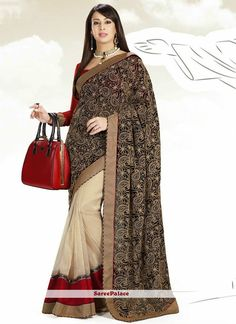 Off White And Black Shade Half And Half Net And Faux Georgette Saree