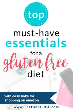 Transitioning to a gluten-free diet? Pin now for the top must-have essentials to eating gluten-free! This list includes everything from kitchen gadgets and cookbooks to basking essentials, snacks, and gluten-free substitutes for your current favorite foods. Plus: no frantic store searching, everything has convenient links for easy ordering on amazon! #glutenfree #gfreviews #gf