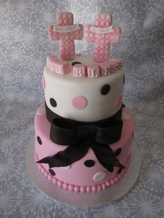Baby Twin Girls Baptism Cake  https://www.facebook.com/photo.php?fbid=400059013425090=a.144257202338607.27814.144212145676446=1#!/pages/Sugar-Mama/253081651385828