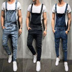 Buy Jamickiki New Fashion Men's Denim Bib Suspenderdres Men's Jeans Jumpsuit Pant Tirantes Rompers Overalls. 3 Colors at Wish - Shopping Made Fun Overalls Fashion, Overalls Outfit, Denim Overalls, Denim Fashion, Men's Denim, Distressed Denim, Slim Fit Trousers, Jeans Jumpsuit, Casual Jumpsuit