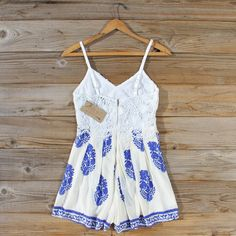 Dryden Romper... A gorgeous block print pairs with a lace bust on this sweet boho romper.
