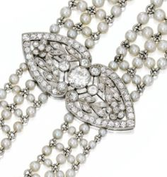 Detail: Edwardian seed pearl and diamond sautoir, J.E. Caldwell. Circa 1905. Via Diamonds in the Library.