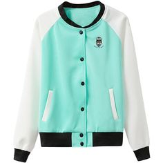 Color-block Long-sleeves Baseball Jacket (4880 RSD) ❤ liked on Polyvore featuring outerwear, jackets, blue wardrobe, shirts, long sleeve jacket, blue jackets, colorblock jacket and color block jacket