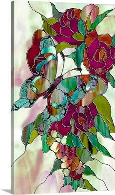 """""""Changeling"""" art canvas; stained glass butterfly art"""