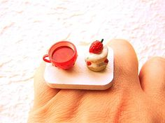 tea cup and a strawberry cake ring Tokyo Food, Types Of Plastics, Mini Foods, Miniature Food, Tea Party, Panna Cotta, Special Occasion, Tea Cups, Strawberry