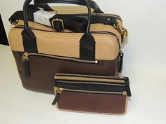 Fossil ERIN CB SATCHEL/matching wallet brown & saddle NWT #Fossil #satchelmatchingwallet