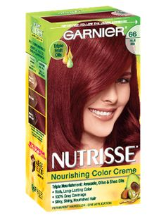 Garnier Nutrisse Nourishing Hair Color Creme, 66 True Red (Pomegranate) (Packaging May Vary) Chocolate Cherry Hair Color, Cherry Hair Colors, Red Hair Color, Brown Hair Colors, Color Red, Hair Dye Brands, Hair Color Brands, Buttery Blonde, Brown Hair Dyed Red