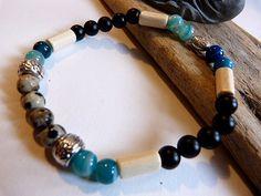 ☾ ᘚ Bracelet homme ou femme de style ethnique et celte en onyx noir mat et superbes perles de Jaspe Léopard, AGATE bleue : Bijoux pour hommes par comme-un-homme