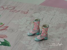 Pistachio and Strawberry- Victorian Goth Lace up Boots for Blythe dolls, pure neemo body S and other BJDs by marina, $35.00 USD