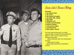 Mayberry Cousin Leda's Banana Chutney Recipe Postcard