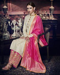 Cream Tussar Art Silk Embroidered Designer Suit (Semi-Stitched) #anarkali #anarkalisuits #salwarkameez #designersuits #weddingwear #partywear #traditional #indianwear #bollywood #ethnicwear #designerwear #womenswear