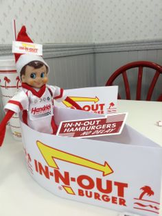 No trip out west is complete without a stop at In-N-Out! #Bowtie (Elf on the Shelf)