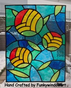 Art Deco Flowers Static Window Cling Stained Glass 'Effects' hand painted art deco flowers window clings window art stained glass effects su...