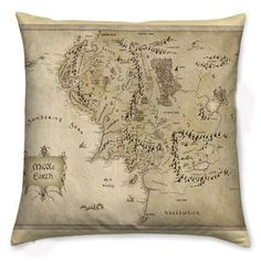 Middle Earth Cushion, Pillow Cover, The Hobbit, Lord Of The Rings, Geek Pillow, Rooby Lane on Etsy, $33.79