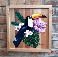Arte Naturalista, Painting On Pallet Wood, Disney Canvas Art, Wood Flowers, Gouache Painting, Wood Pallets, Tropical, Woodworking, Paper Crafts