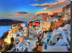 Santorini Sunrise Stretched Canvas Print by Dale MacMillan at AllPosters.com