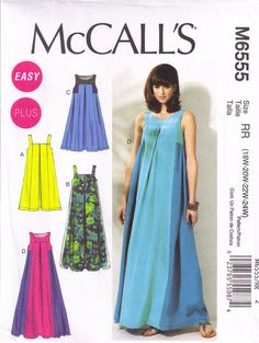 McCalls 6555 Caftan Tent Dress Sewing pattern Plus Size 18w, 20w 22w, 24w Bust 40, 42, 44, 46. $6.00, via Etsy.