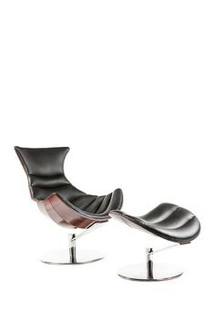The Logano Black/Walnut/Silver Lounge Chair with Ottoman by Control Brand on @HauteLook