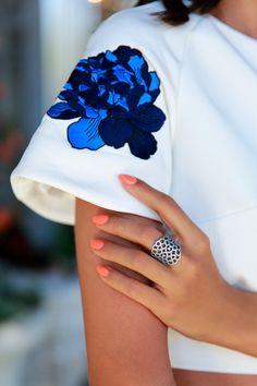 Blouse. White. Blue. Nails. Neon. Coral. ANNABELLE FLEUR: COBALT N' CROP