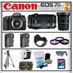 Canon EOS 7D 18MP - Canon EF 16-35mm f/2.8 II USM - Canon EF 70-300mm f/4-5.6 IS USM - 32GB Memory Card - Card Reader - 2 Batteries - Tulip Lens Hood - 3 Piece Lens Filter Kit - Carrying Case - Screen Protector - Lens Cleaning Kit - Full Size Tripod by Canon. $3334.95. Canon EOS 7D  With a host of features designed to enhance every facet of the photographic process, from still images to video, the EOS 7D represents an advanced class of camera. Made to be the tool of choice for se...