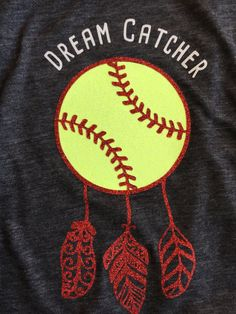 Softball tank Glitter softball tank dream catcher by PDoubleC Softball Crafts, Softball Quotes, Softball Shirts, Girls Softball, Baseball Mom, Softball Stuff, Softball Catcher Quotes, Baseball Clothes, Softball Party