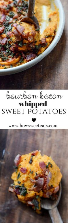 bourbon bacon whipped sweet potatoes- so delicious to serve as a side on Thanksgiving that your whole family will love!